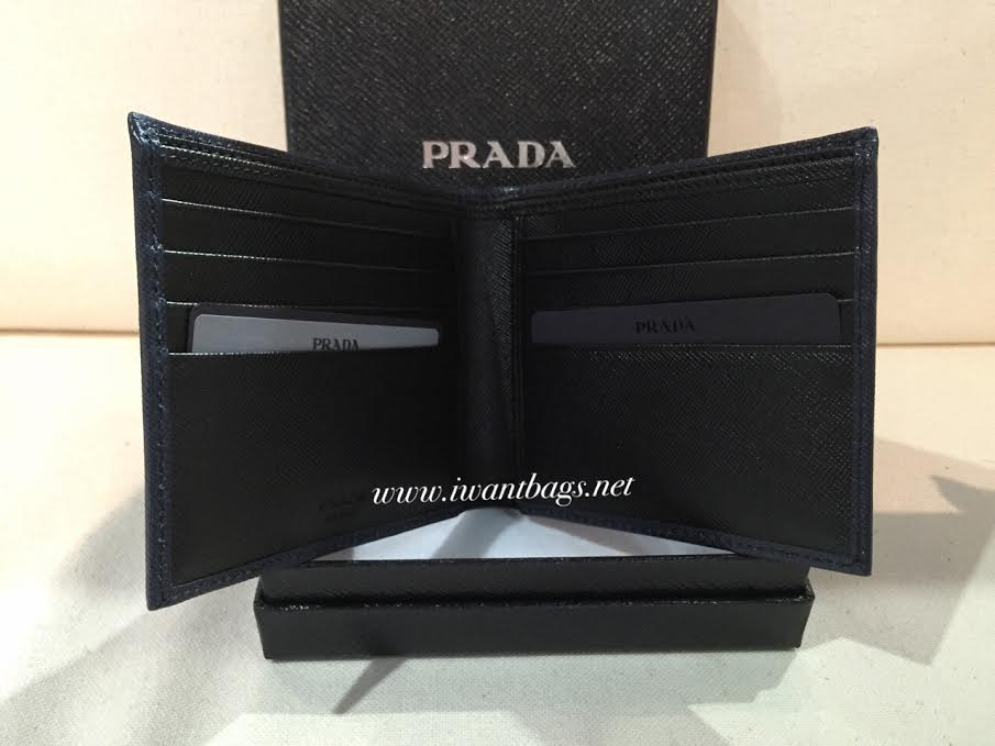 replica prada - Prada 2M0513 Saffiano Men\u0026#39;s Wallet in Bicolor -Baltico/Nero