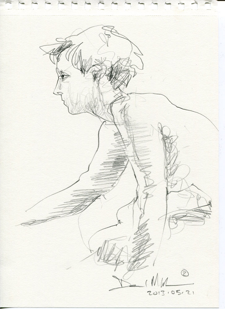2 minute pencil sketch. 20130521 by David Meldrum