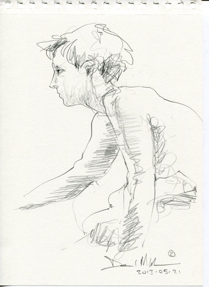 2 minute pencil sketch. 20130521 by David Meldrum