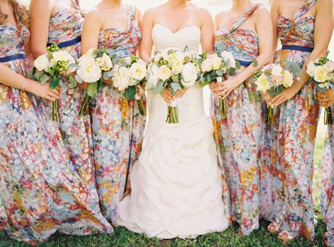 Wedding Trends} : Floral Bridesmaid Dresses - Belle The Magazine