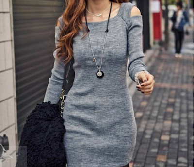 gray dress shoulder cutouts dresslink aglimpseofglam