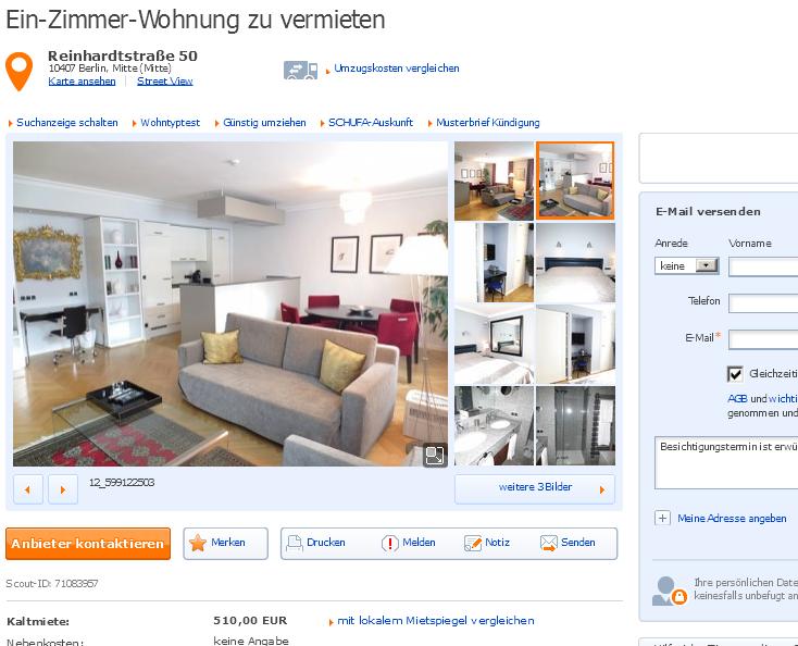 ein zimmer wohnung zu vermieten reinhardtstra e 50 10407 berlin mitte. Black Bedroom Furniture Sets. Home Design Ideas