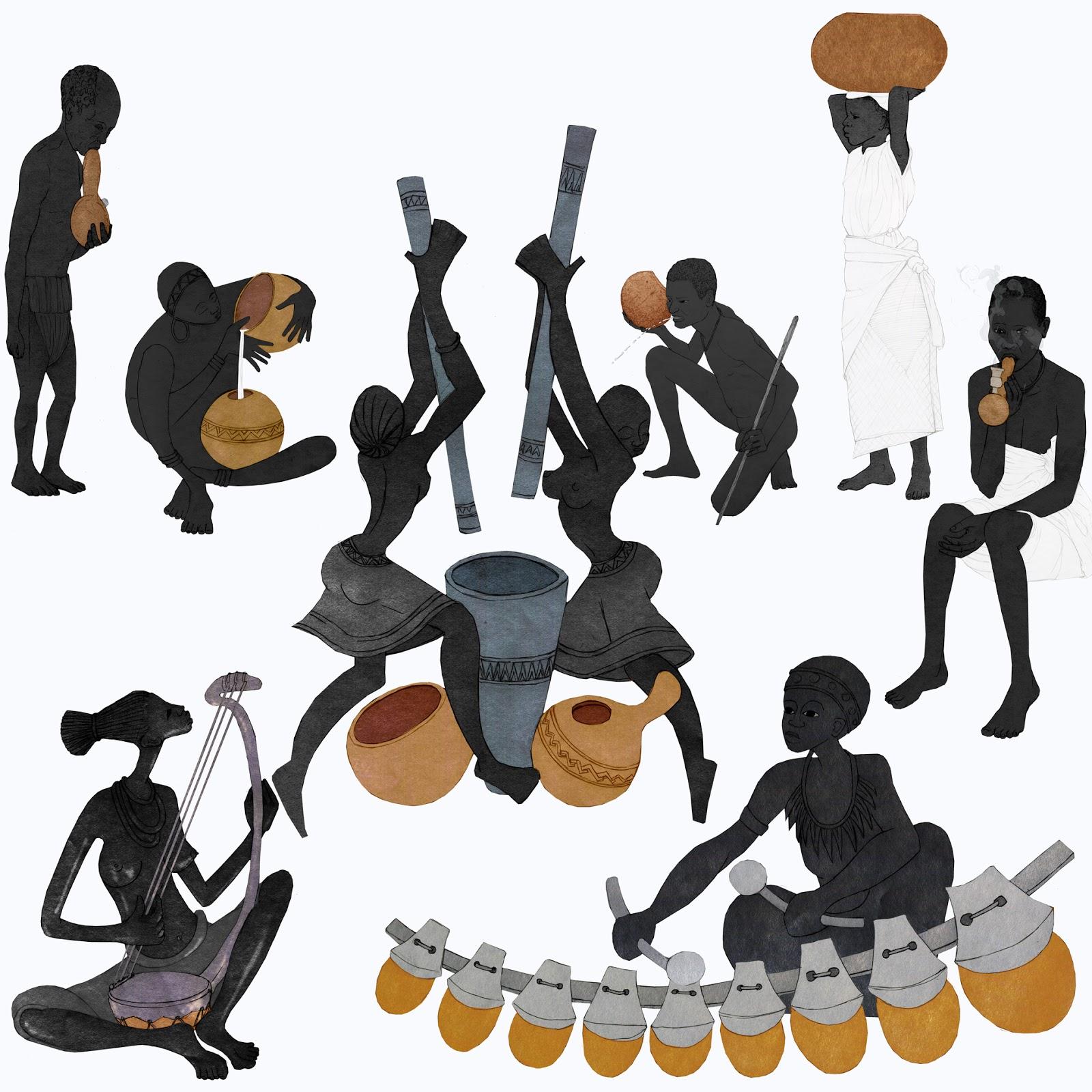 instrumentos musicales, recipientes, pipas,