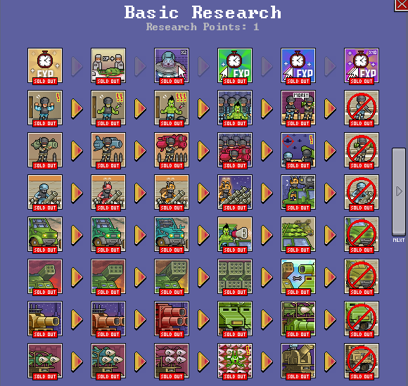 A shot of the Basic Research options in Save the Earth - The Incremental