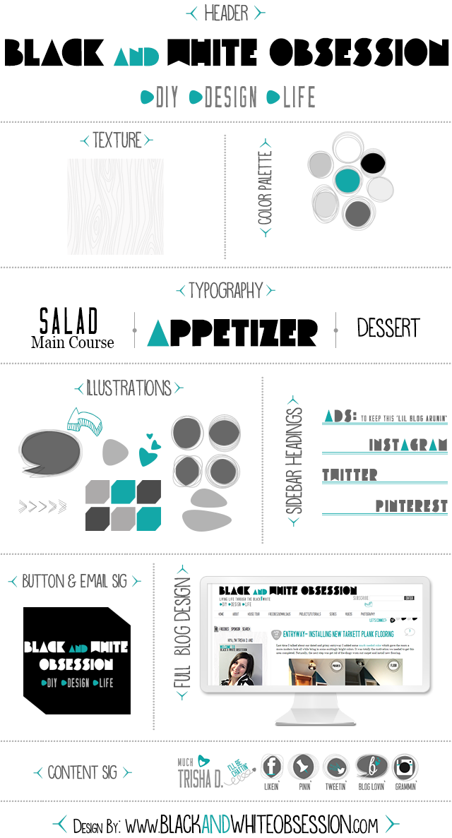 Black and White Obsession Designs: Style Guide | Blog ReDesign/Refresh | www.blackandwhiteobsession.com