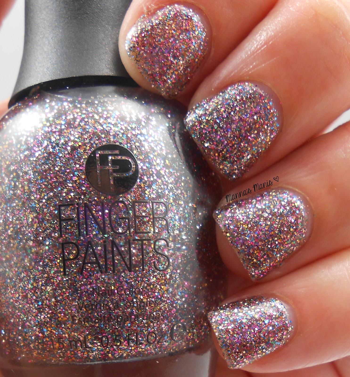 fingerpaints glisten here, a full coverage multicolored microglitter nail polish