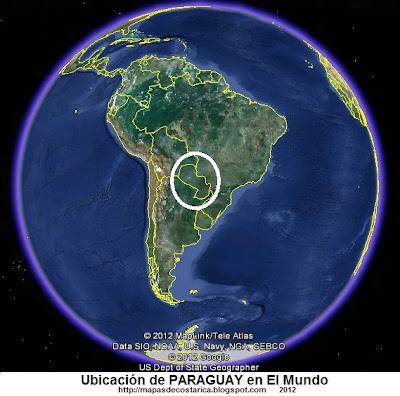 Ubicación de PARAGUAY en El Mundo , Google Earth
