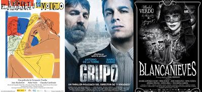 Carteles de las películas preseleccionadas para representar a España en los Oscar 'Blancanieves', 'El artista y la modelo' y 'Grupo 7'