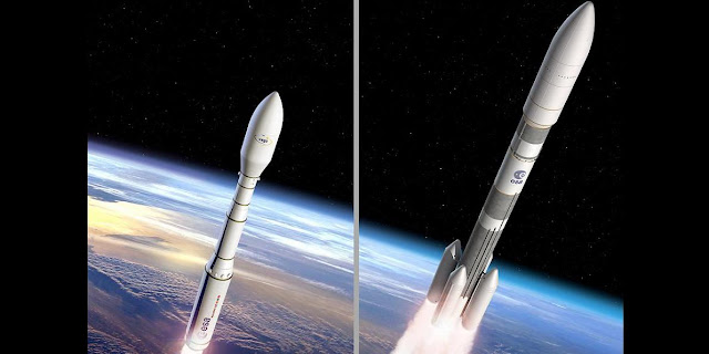 Vega C (left) and Ariane 6 (right) artist's views. Credit: ESA–J. Huart and D. Ducros