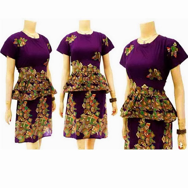 DB3715 Mode Baju Dress Batik Modern Terbaru 2014