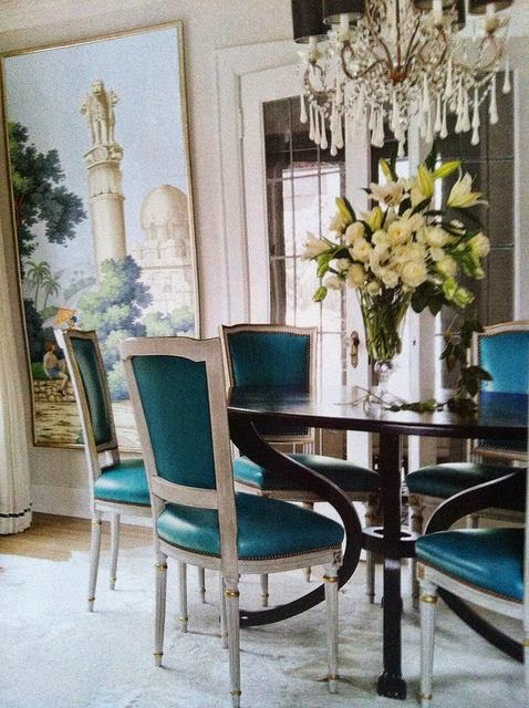 Joy of nesting bonny blue decor high end textiles for Dining room ideas teal