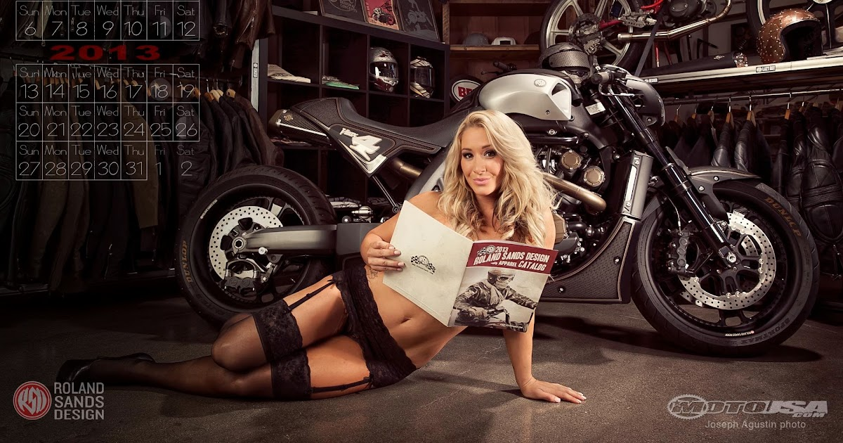 Calendar Typography Yamaha : Motorcycle babe chelsy with the roland sands design yamaha