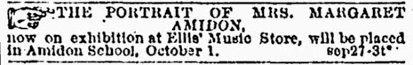 short contemporary newspaper notice of the display of the portrait of Mrs. Amidon