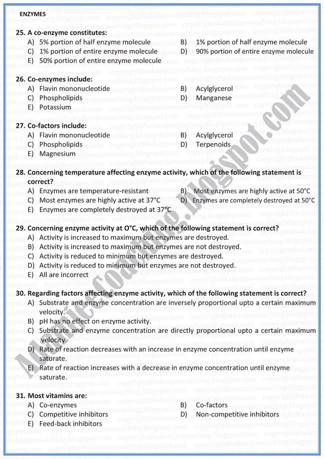Biology Mcqs XI - Enzymes