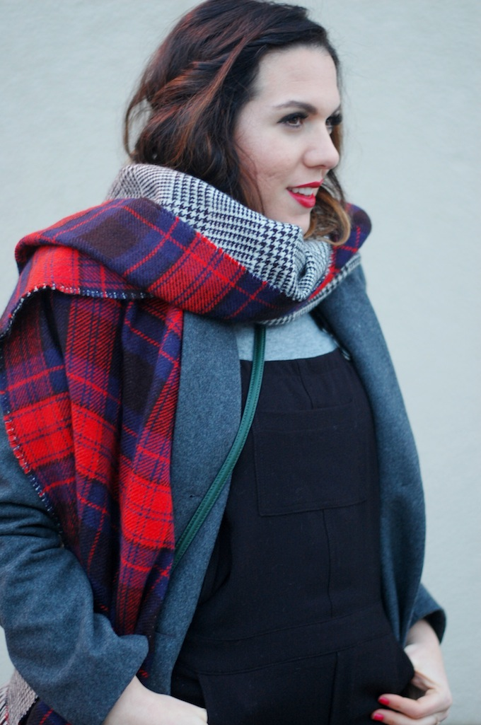 Le Chateau overalls and coat Joe Fresh blanket scarf