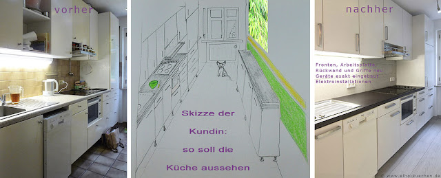 Küche vorher - nachher mit der Skizze der Kundin