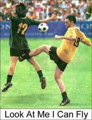 funny football picture, kick in the balls
