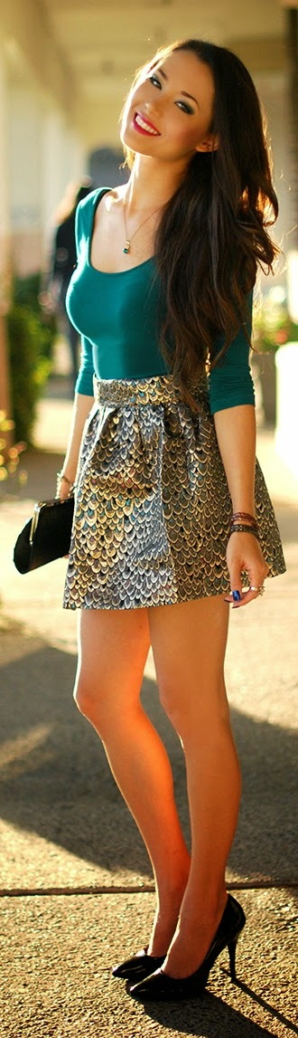 Peacock Printed Mini Skirt with Pop Color Top | Chic Street Outfits