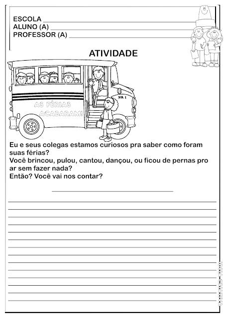 Atividade Produção de Texto Volta às Aulas