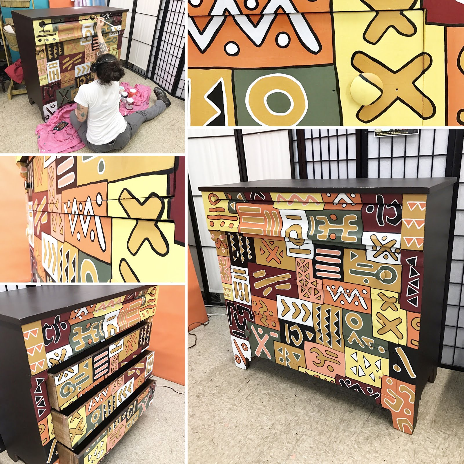 NZO-African Style. Painted By Uhuru Furniture!