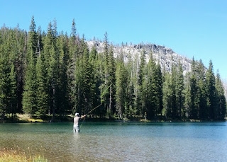 Joe fly fishing on Johnson Lake