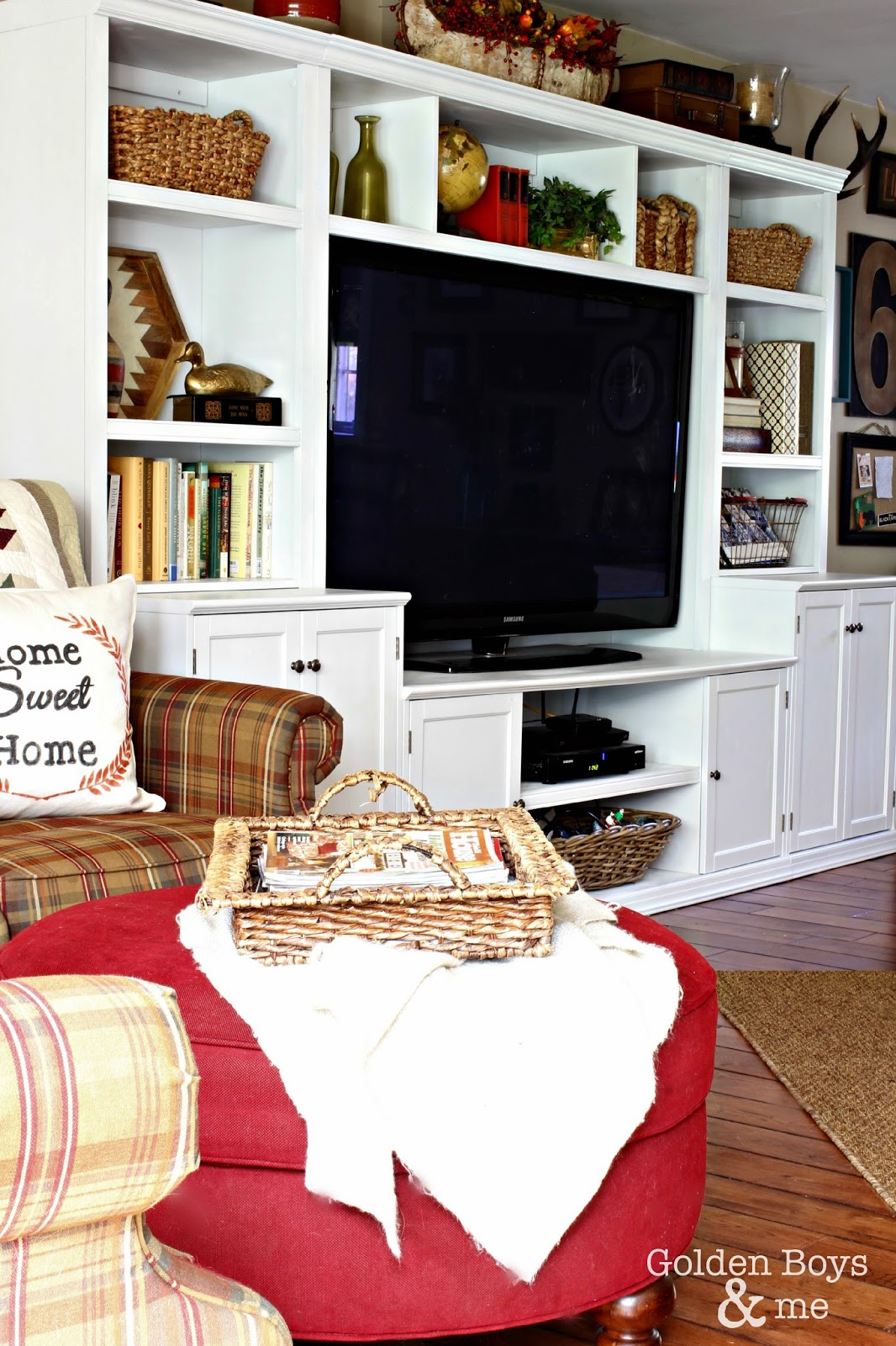 Painted white wall unit, entertainment center look-a-like to the Pottery Barn logan-www.goldenboysandme.com