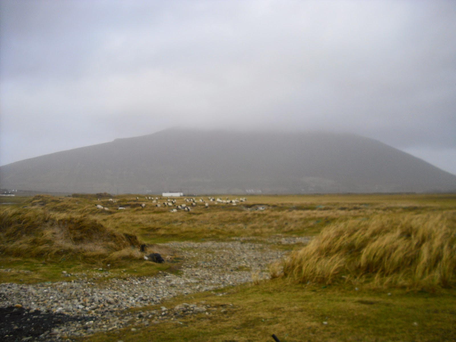 A view inland from Keel Strand, Achill Island, Co Mayo, Ireland.