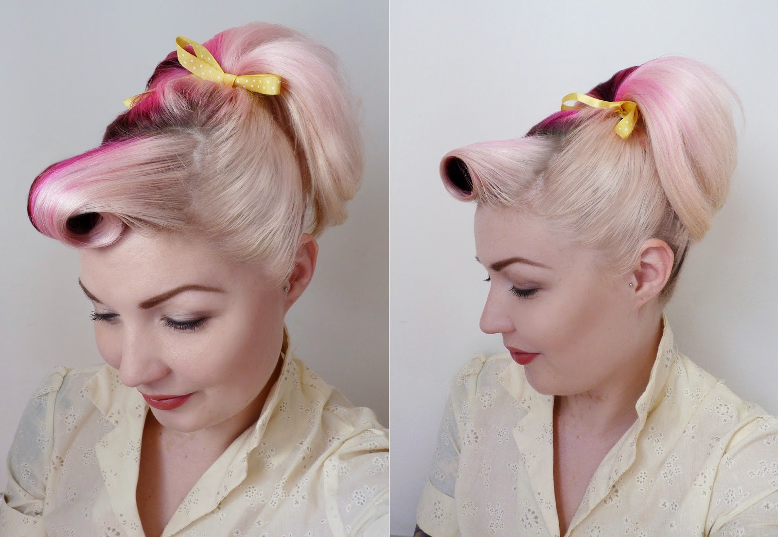 50s Hairstyles Ponytail Up in a high ponytail,