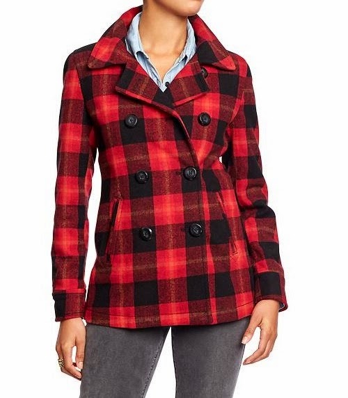 Buffalo Check Red Coat, Tartan Print Coat, Plaid Coat, Red Plaid Coat, Red Buffalo Plaid Coat