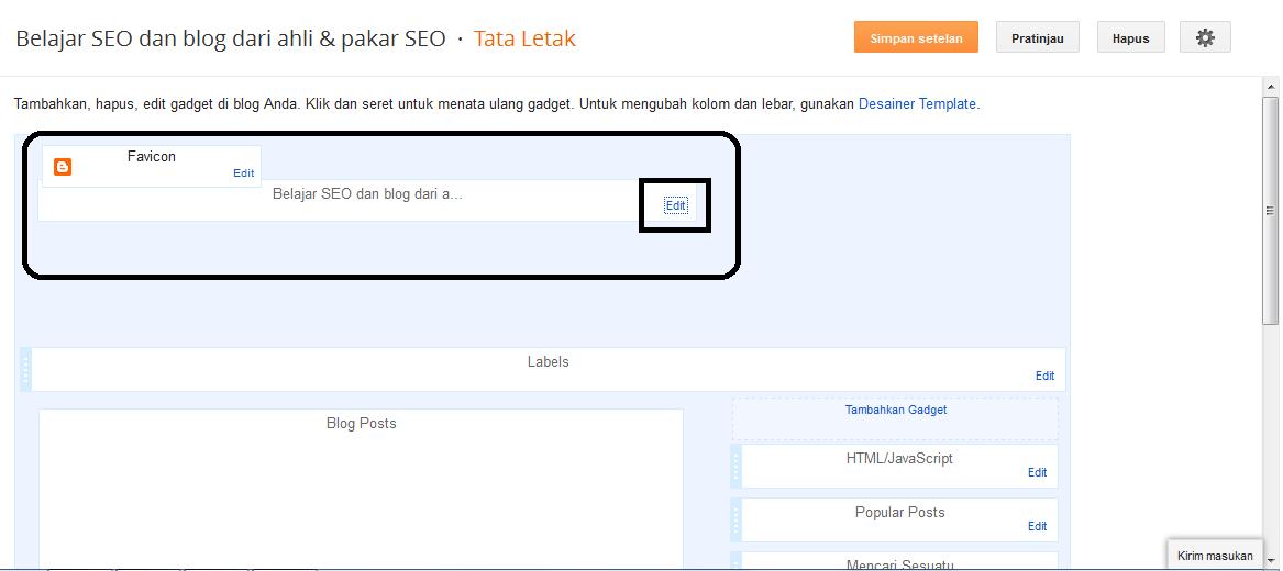Lihat dibagian widget judul blog, silahkan klik EDIT