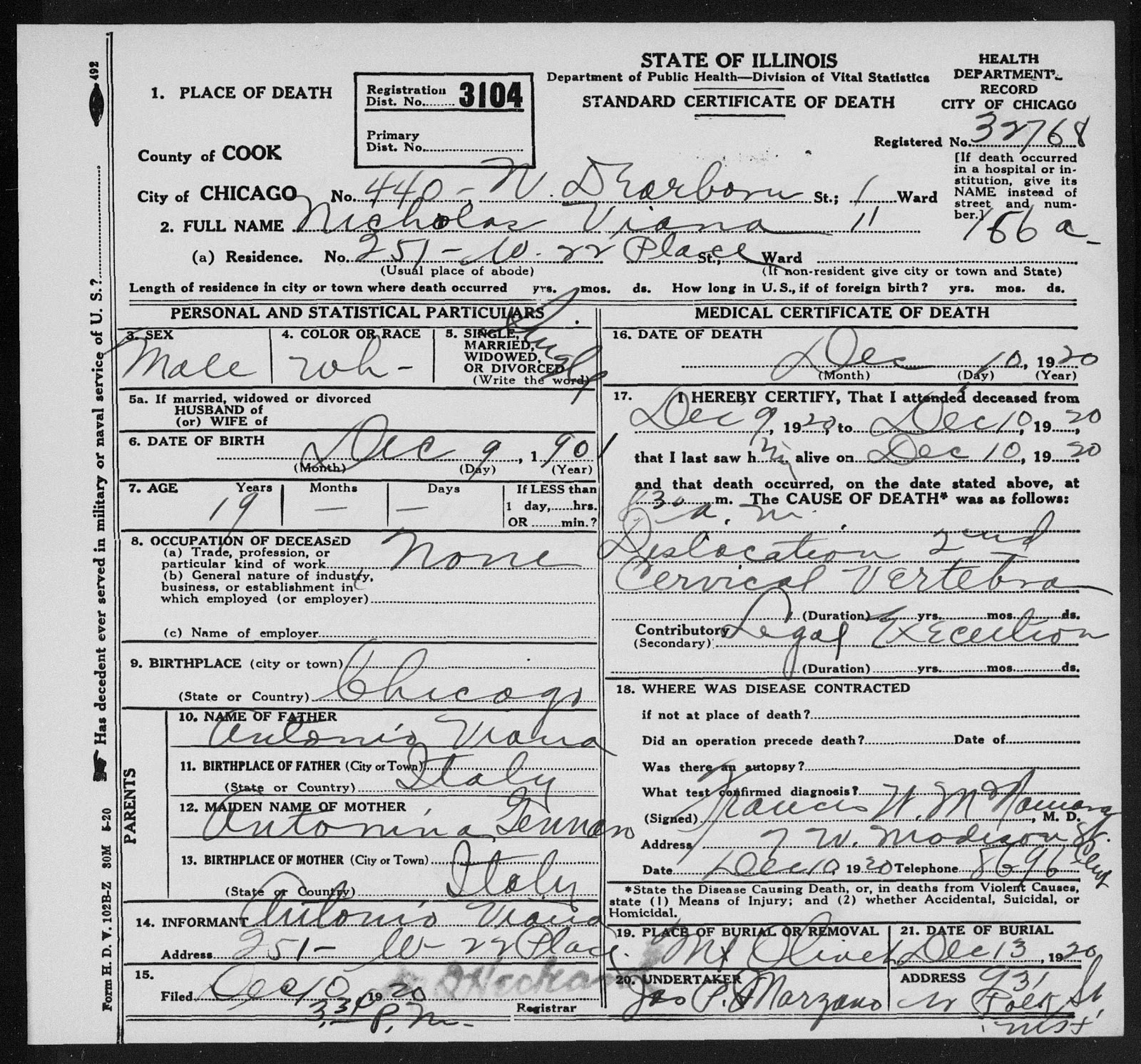 Hangmans death certificates mysterious chicago tours cardinella himself was hanged sometime later he had lost a ton of weight and collapsed on the scaffold they had to hang him tied to a chair aiddatafo Choice Image