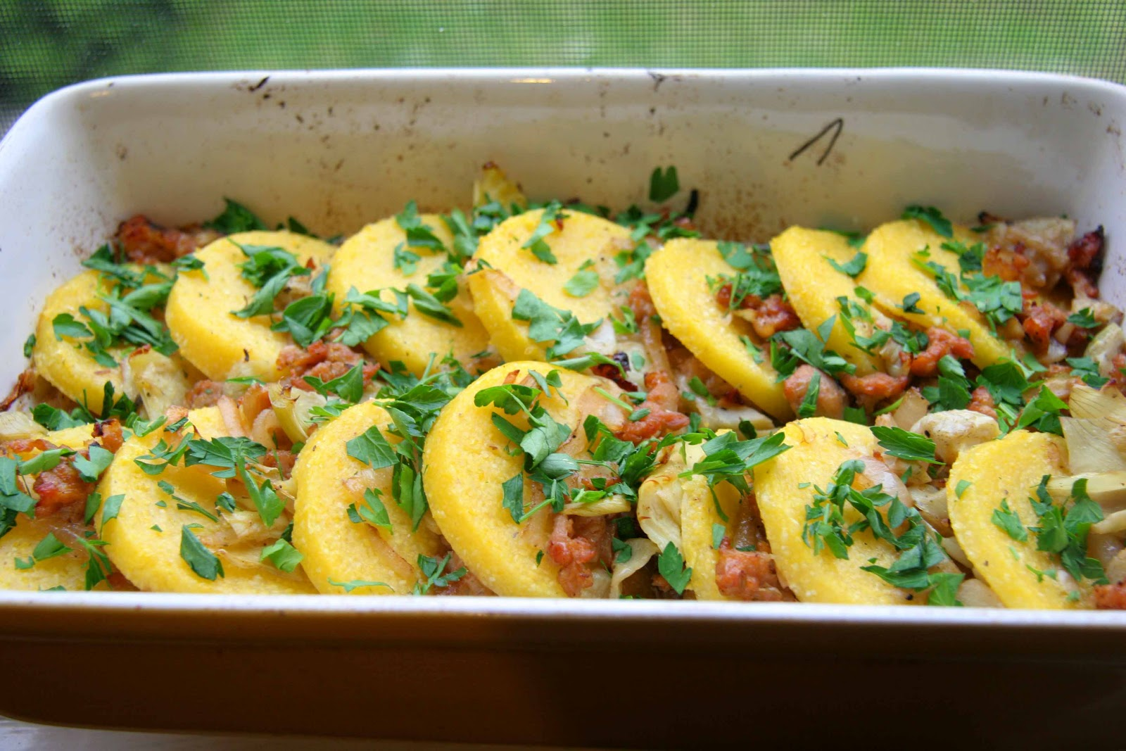 Baked Polenta With Sausage And Artichoke Hearts Recipe — Dishmaps