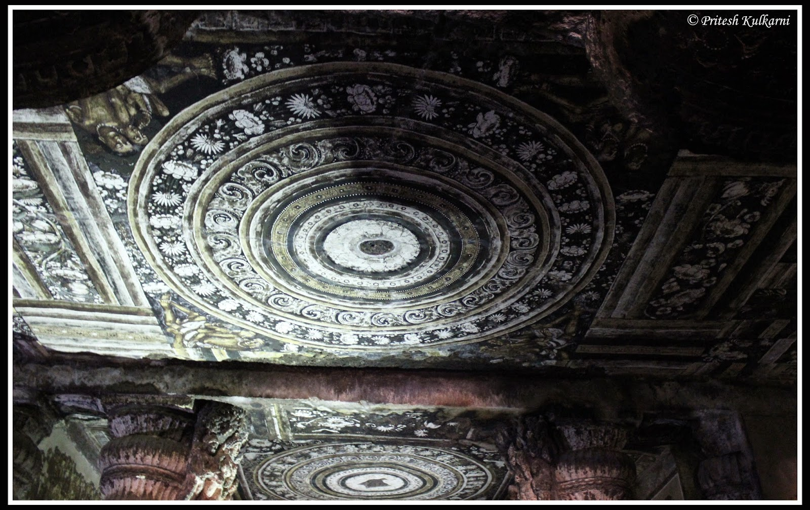 Painting on Ajanta Cave's roof