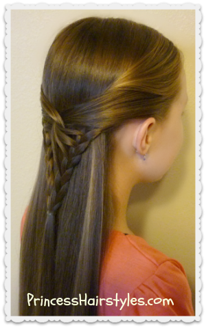 cute braided tie back style, the arrowhead braid