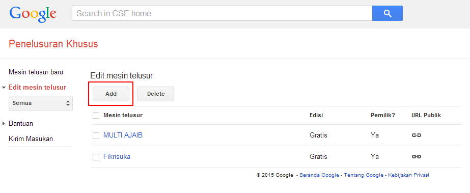 Cara Membuat Google Costum Search Engine di Blog