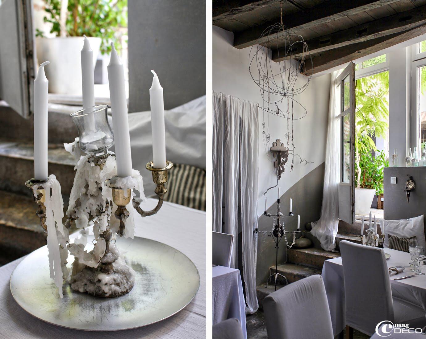 Lustre en fil de fer, ficelles de chanvre et pampilles de verre, création Béatrice Loncle et Geneviève Cazottes