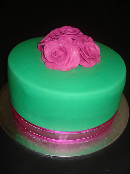Green and Pink Rose Cake