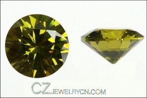 Cubic Zirconia Olive Yellow Round AAA Quality stones
