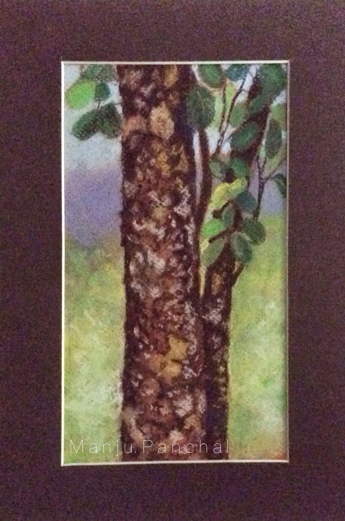 soft pastel painting of tree trunk