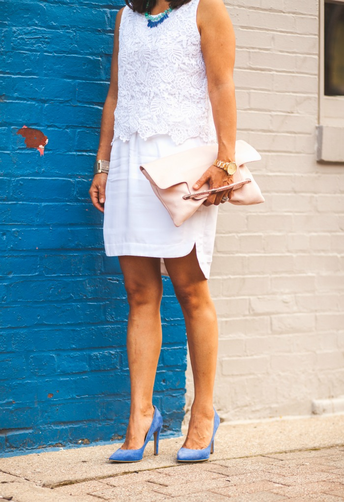 white on white with blue and blush for summer
