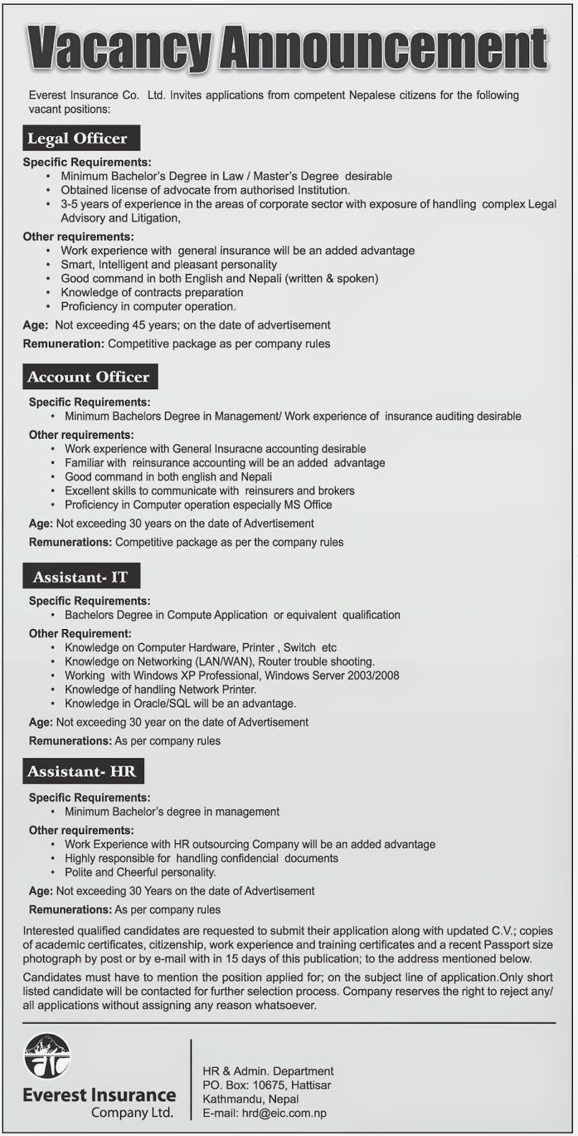 Career in Insurance :Vacancy announcement from Everest Insurance