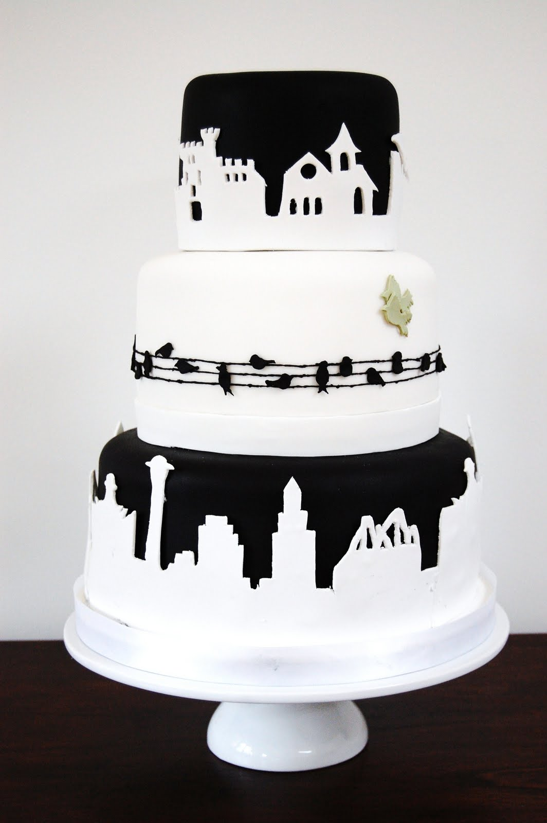 iced Kitt and Marco s Silhouette Wedding Cake 18th June