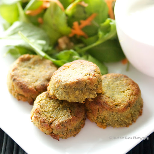 Baked Falafel with Garlic Mint Yogurt Sauce