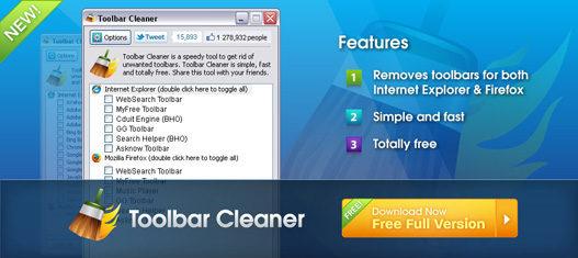 Eliminar las barras de herramientas no deseadas con Toolbar Cleaner