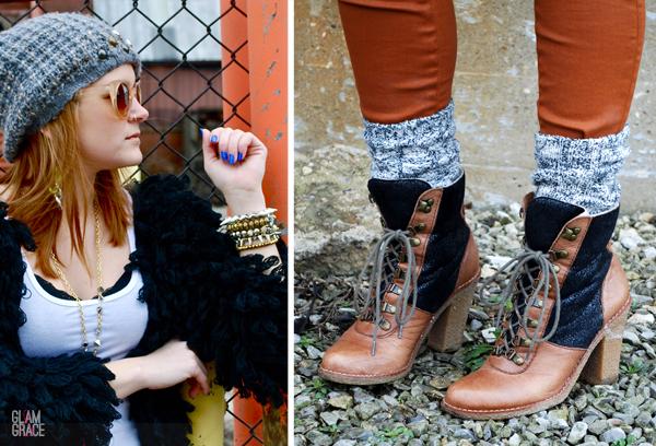 shag sweater - Sam Edelman brown and black boots