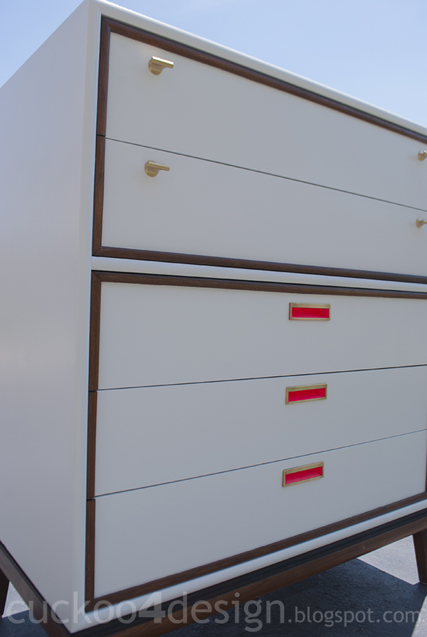 before and after of midcentury dresser in white, pink, brass and neon pink