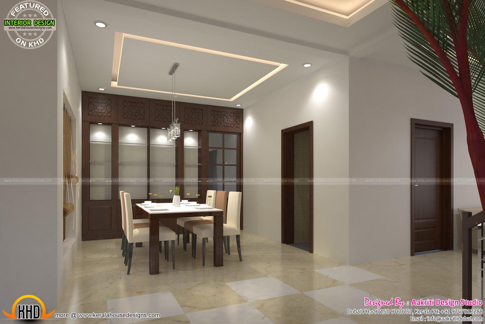 Dining Living Staircase Interior Kerala Home Design