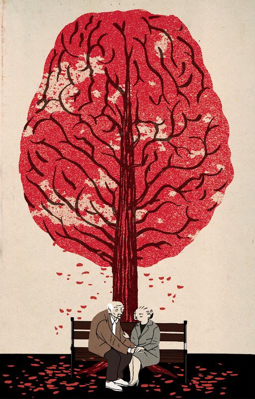 Demens-illustration med ældre par og blade faldende fra hjerne-træ