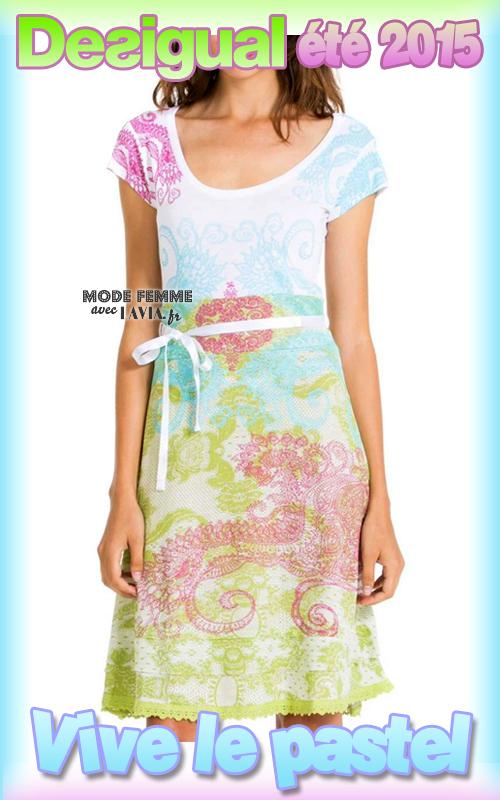 Robe midi couleur pastel Desigual