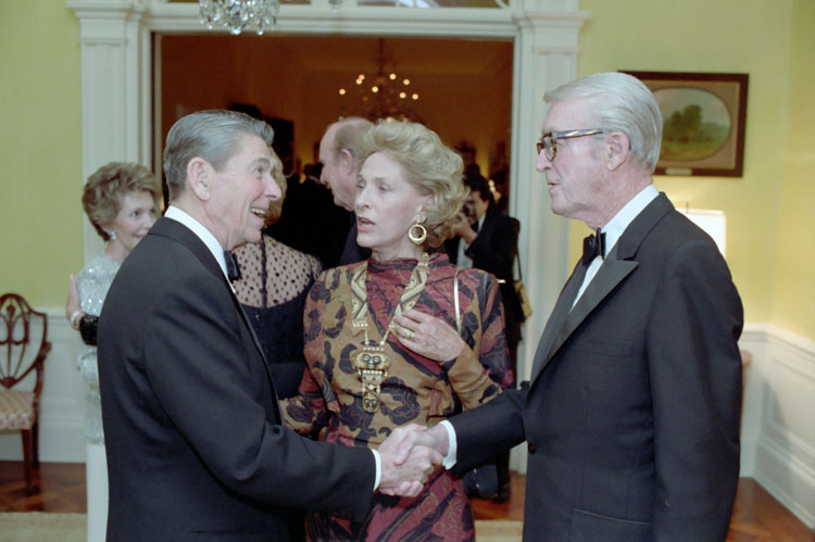 Jimmy and Gloria Stewart with President Ronald Reagan in 1986